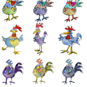 Funny Cute Cartoon Roosters