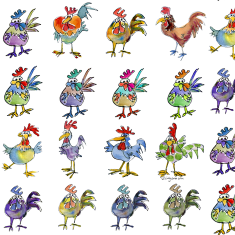 Funny Cute Cartoon Roosters fabric by lillyarts on Spoonflower - custom fabric