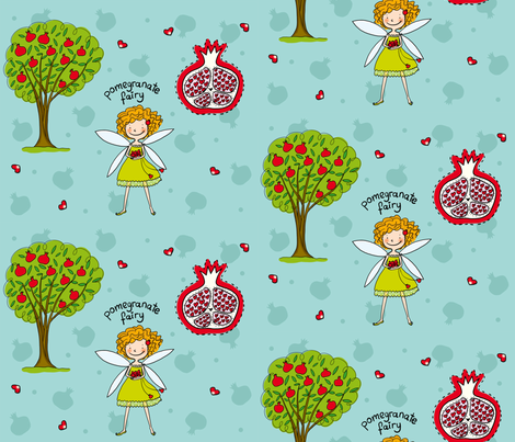 Pomegranate Fairy fabric by pinomino on Spoonflower - custom fabric