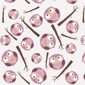 Owls and Branches - Pink
