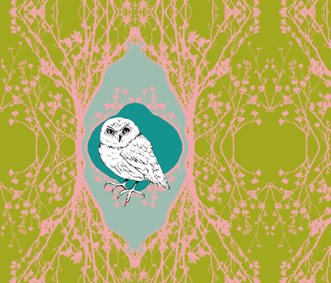 Modern Majestic - Owl cushion cover fabric by uzumakijo on Spoonflower - custom fabric
