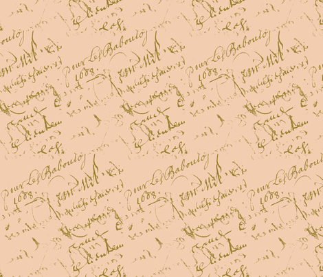 French script peach II fabric by karenharveycox on Spoonflower - custom fabric