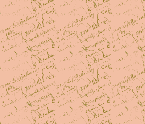 French Script Peachy Keen fabric by karenharveycox on Spoonflower - custom fabric