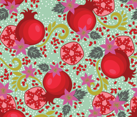 Pretty Pomegranates fabric by alissecourter on Spoonflower - custom fabric