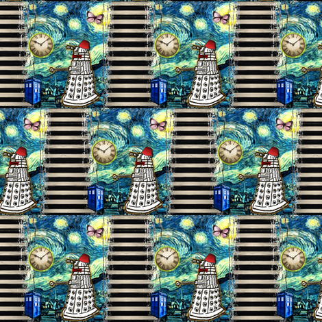 Doctor Who Inspired TARDIS Dalek Collage fabric by bohobear on Spoonflower - custom fabric