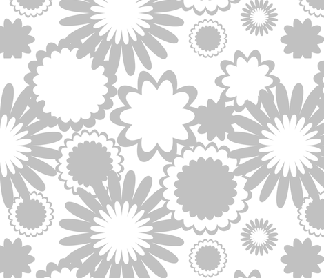 Gray Flowers fabric by bbsforbabies on Spoonflower - custom fabric