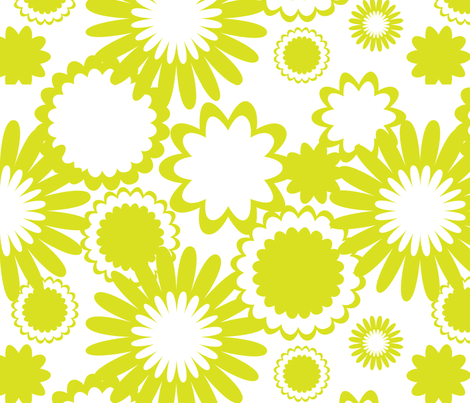 Apple Green Flowers fabric by bbsforbabies on Spoonflower - custom fabric