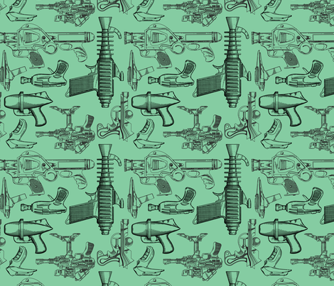 Ray Gun Revival (Green) fabric by studiofibonacci on Spoonflower - custom fabric