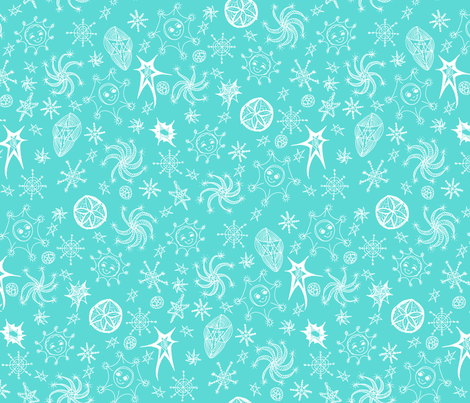 Cheerful Celestials - Aqua Frost. fabric by rhondadesigns on Spoonflower - custom fabric