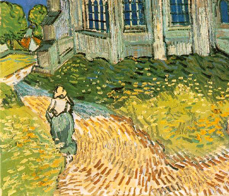 Van Gogh - The Church at Auvers (1890) fabric by studiofibonacci on Spoonflower - custom fabric