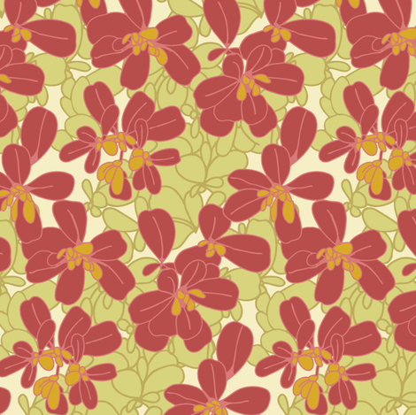 Purslane_Print_Light fabric by modernprintcraft on Spoonflower - custom fabric
