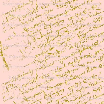 French Script Peaches and Cream