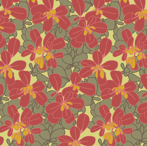 Purslane_Print_Shadow fabric by modernprintcraft on Spoonflower - custom fabric