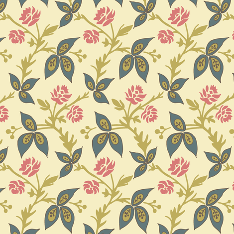 Viney_Floral_Cream fabric by modernprintcraft on Spoonflower - custom fabric
