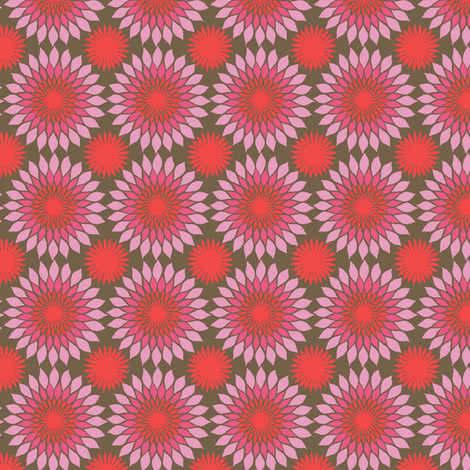 Sunflower Block Print red mix fabric by modernprintcraft on Spoonflower - custom fabric