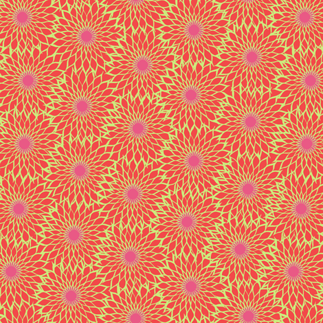 Sunflower Linework red fabric by modernprintcraft on Spoonflower - custom fabric