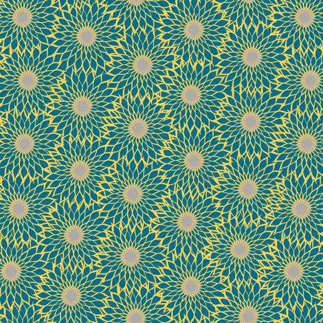 Sunflower Linework blue fabric by modernprintcraft on Spoonflower - custom fabric