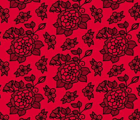 "Black ""flocked"" flower on red fabric by victorialasher on Spoonflower - custom fabric"