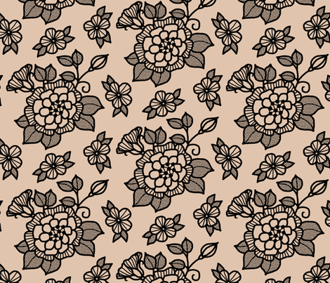 Black flocked velvet flower on cafe au late fabric by victorialasher on Spoonflower - custom fabric