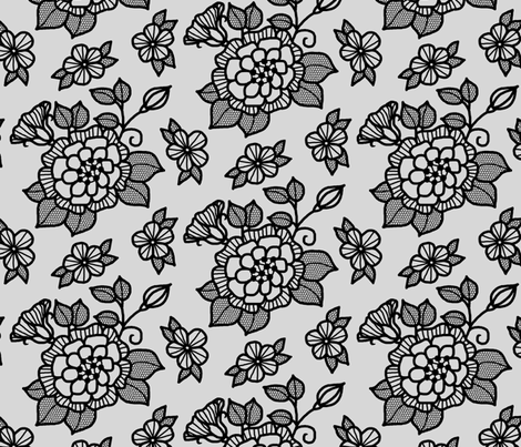 Black flocked velvet flower on silver fabric by victorialasher on Spoonflower - custom fabric