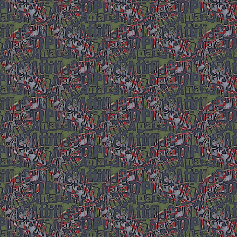 Attitude and anarchy (blue/green) fabric by raccoons_rags on Spoonflower - custom fabric