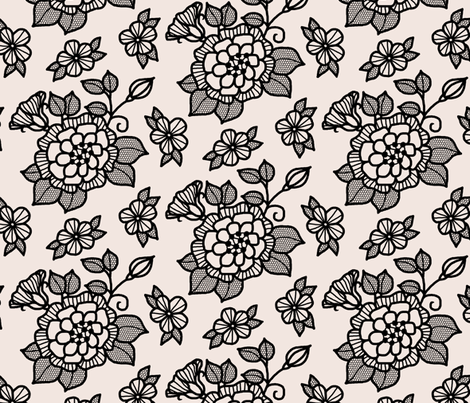 "Black ""flocked"" flower on cream fabric by victorialasher on Spoonflower - custom fabric"