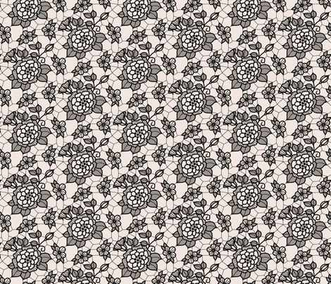 Black lace flower on cream  fabric by victorialasher on Spoonflower - custom fabric