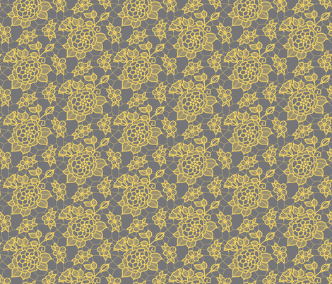 pale gold lace flower on medium gray fabric by victorialasher on Spoonflower - custom fabric