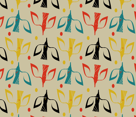 Blackbird's Spring fabric by joypure&amp;simple on Spoonflower - custom fabric