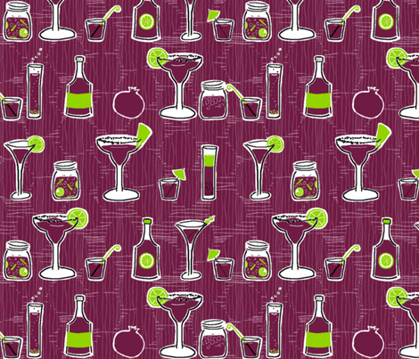 Pomegranate Cocktails fabric by fig+fence on Spoonflower - custom fabric