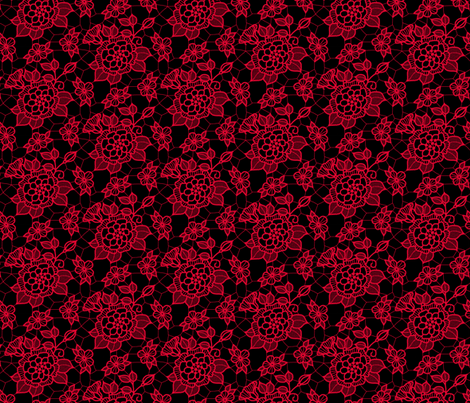 Dark pink lace flower on black  fabric by victorialasher on Spoonflower - custom fabric