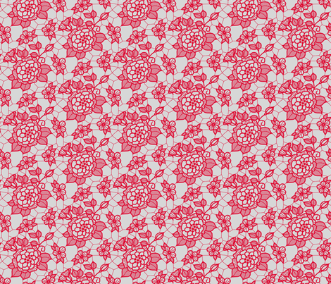 Dark pink lace flower on silver  fabric by victorialasher on Spoonflower - custom fabric