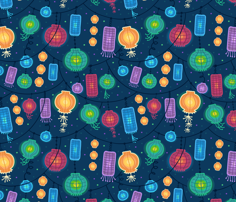 Glowing Lanterns fabric by oksancia on Spoonflower - custom fabric