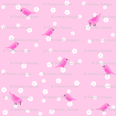 Bluebirds and Blossoms - Pink