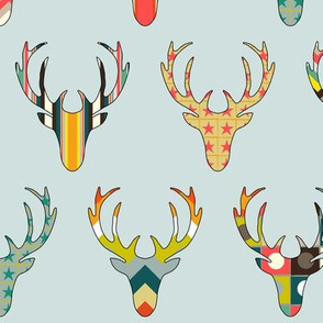 retro deer head Blaize blue
