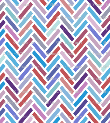 herringbone blue pink