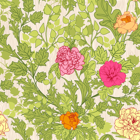 Peonies fabric by yaskii on Spoonflower - custom fabric