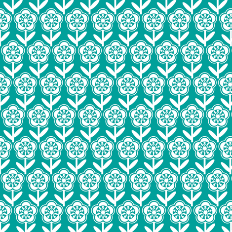 Geometric Flower - Turquoise fabric by gobennygo on Spoonflower - custom fabric