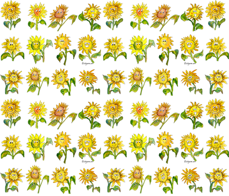 Cartoon Sunflowers fabric by lillyarts on Spoonflower - custom fabric