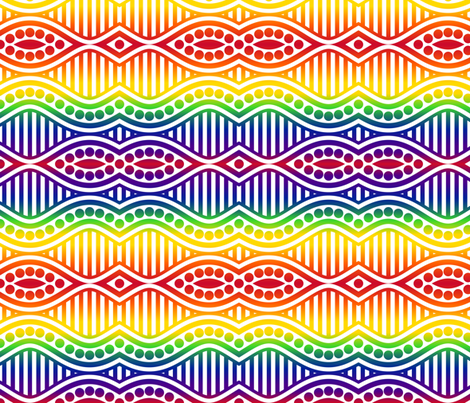 Rainbow Waves, Stripes and Dots-Light fabric by shala on Spoonflower - custom fabric