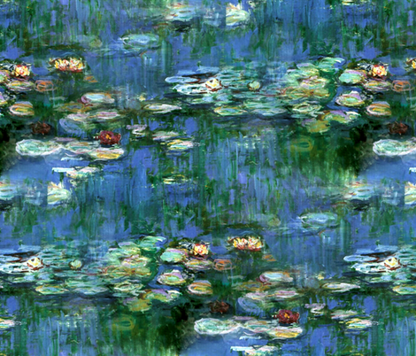 Claude Monet ~Water Lilies ~1916 fabric by peacoquettedesigns on Spoonflower - custom fabric