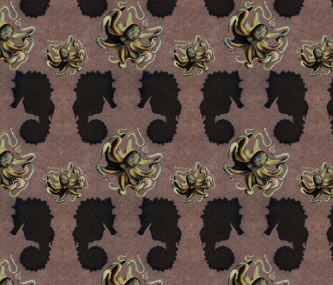 seahorse-octopus fabric by trollop on Spoonflower - custom fabric