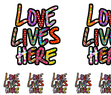 LOVE LIVES HERE pillow kit fabric by scrummy on Spoonflower - custom fabric