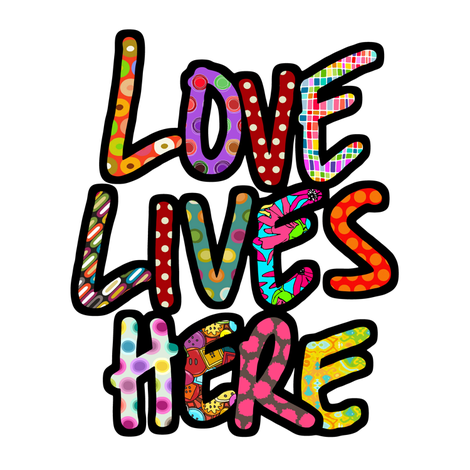 LOVE LIVES HERE swatch fabric by scrummy on Spoonflower - custom fabric