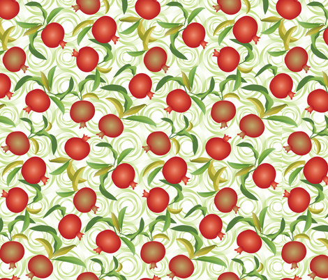 pomegranate on green swirls fabric by kociara on Spoonflower - custom fabric