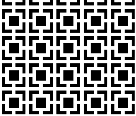 Moroccan Square in Black and White fabric by fridabarlow on Spoonflower - custom fabric