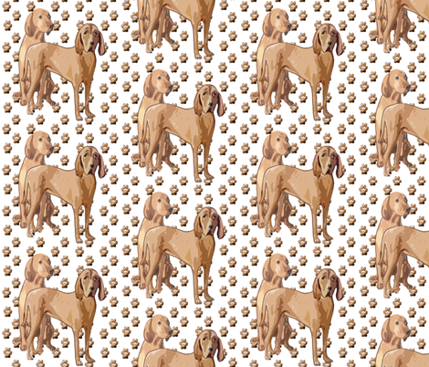 Redbone Coonhound With Pawprints fabric fabric by dogdaze_ on Spoonflower - custom fabric