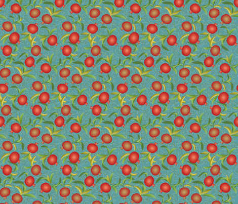 pomegranate on teal fabric by kociara on Spoonflower - custom fabric