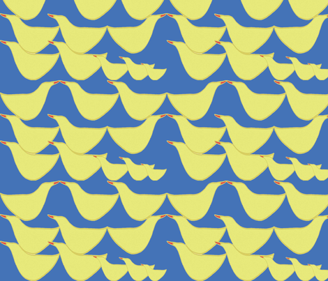 Happy ducks_cobalt blue  fabric by gigimoll on Spoonflower - custom fabric