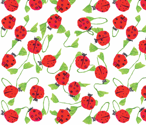 Ladybug smile _white  fabric by gigimoll on Spoonflower - custom fabric
